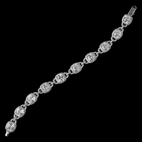 Rhodium Clear CZ Crystal Cushion Cut Bridal Wedding Bracelet 4402