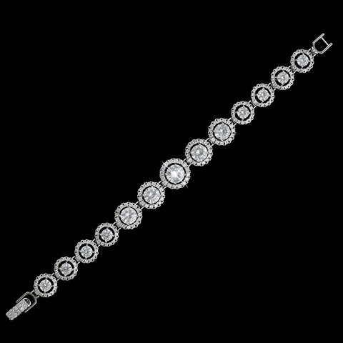 Rhodium Clear Graduating Circle CZ Bridal Wedding Bracelet 4542