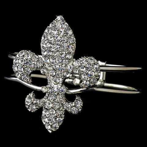 Silver Clear Fleur De Lis Bridal Wedding Bracelet 7237