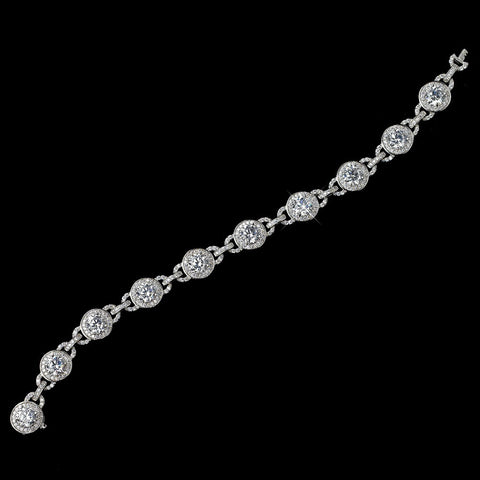Rhodium Clear Round CZ Chain Bridal Wedding Bracelet
