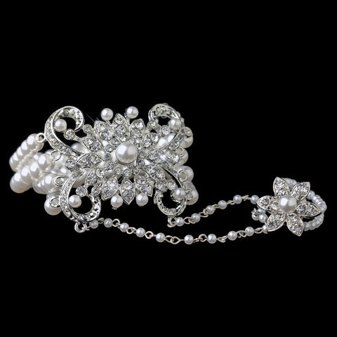 Rhodium White Pearl & Rhinestone Floral Great Gatsby Stretch Bridal Wedding Bracelet & Bridal Wedding Ring 76001