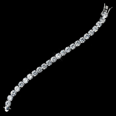 Antique Rhodium Silver Clear Round CZ Crystal Bridal Wedding Bracelet 7708