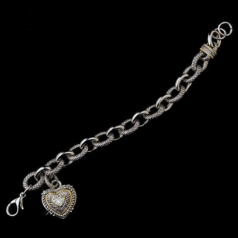 Silver & Gold Trim Heart Charm Bridal Wedding Bracelet B 7976