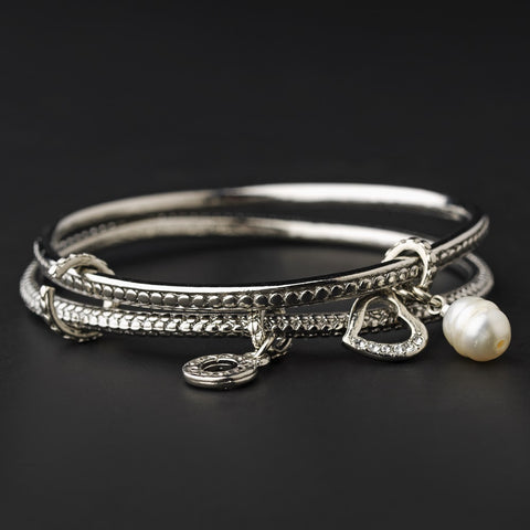 Silver Bangle with Heart & Pearl Charm Designer Inspired Bridal Wedding Bracelet B 7977