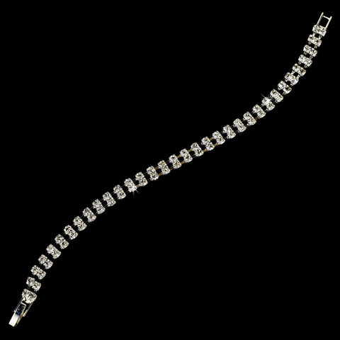 Silver Clear Double Row Rhinestone Bridal Wedding Bracelet 80002