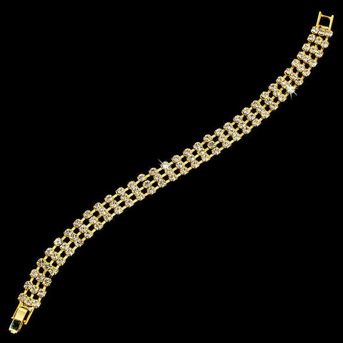 Elegant Gold Clear 3 Row Rhinestone Bridal Wedding Bracelet 80003