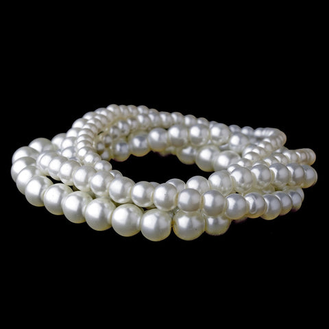 5 Strand Pearl Stretch Bridal Wedding Bracelet 80562