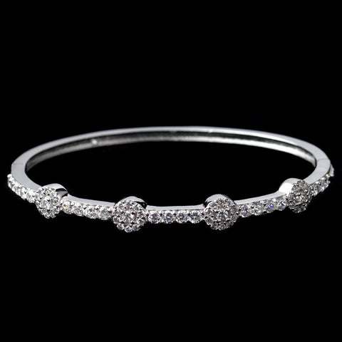 Rhodium Clear Round CZ Bangle Bridal Wedding Bracelet 80670
