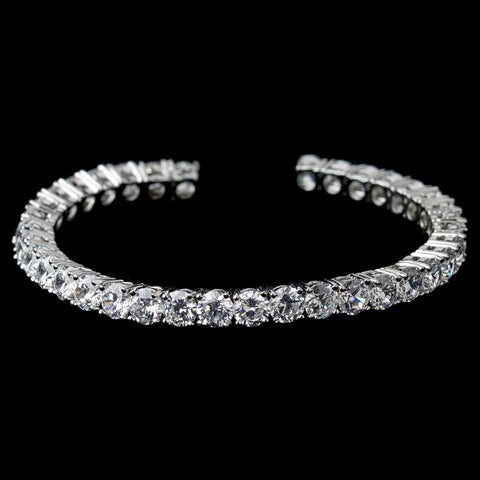 Rhodium Clear Round CZ Cuff Bridal Wedding Bracelet 80671