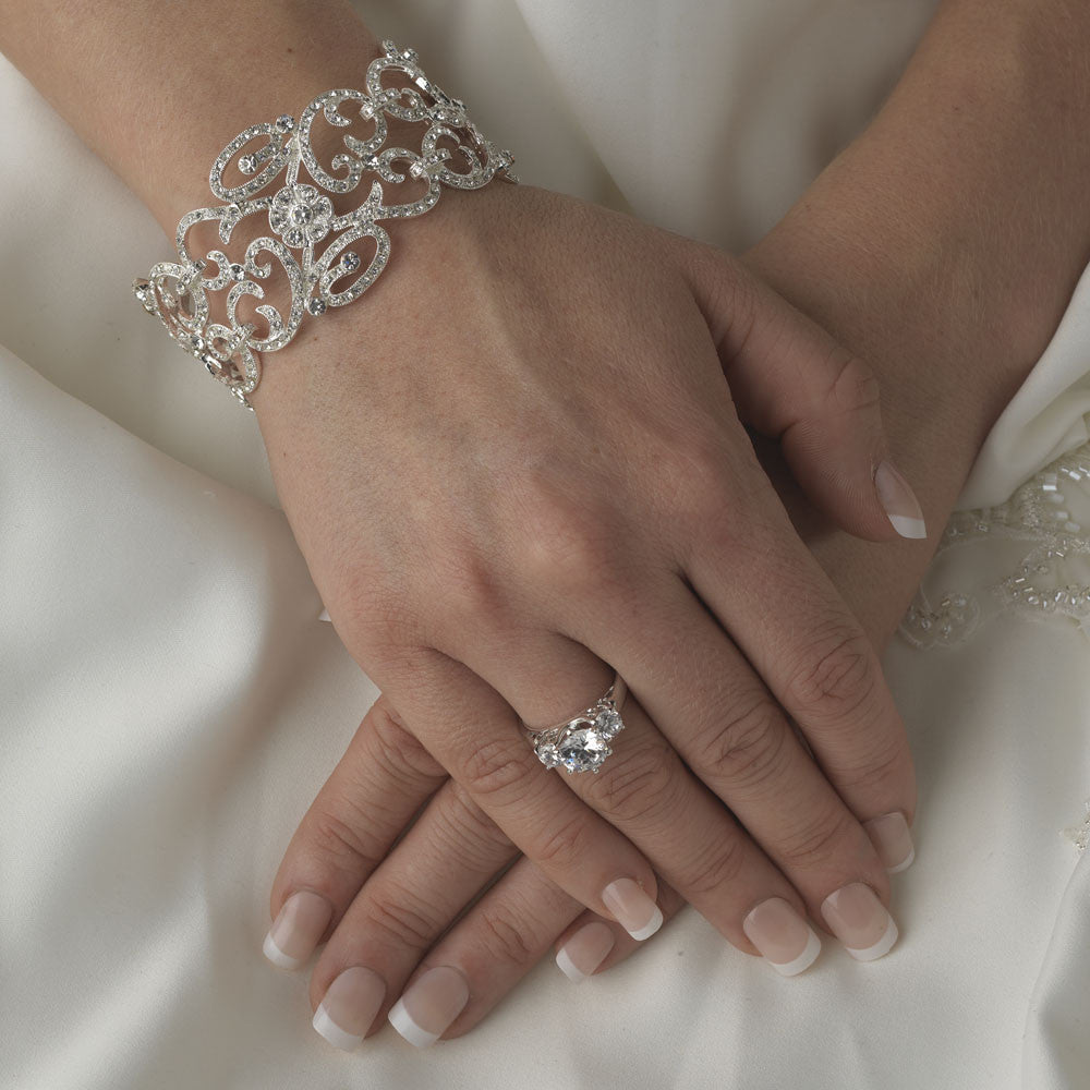Best Selling Rhodium Floral CZ Vintage Bangle Bridal Wedding Bracelet 8101