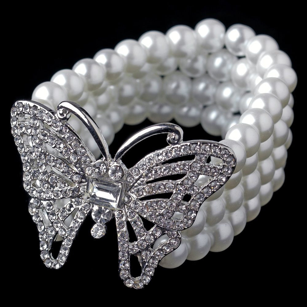 Antique Silver White Pearl Stretch Butterfly Bridal Wedding Bracelet 81788