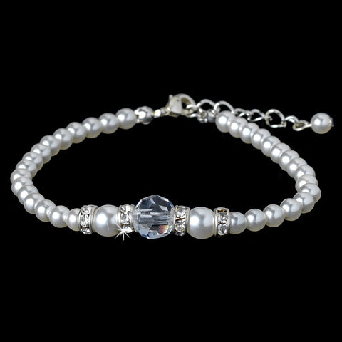 Ivory Silver with Clear Crystal Bridal Wedding Bracelet 8368