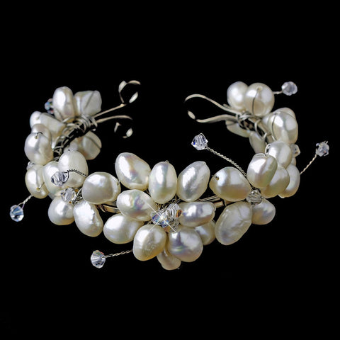 Freshwater Pearl Flower Bridal Wedding Bracelet with Touch of Swarovski Crystal B8380