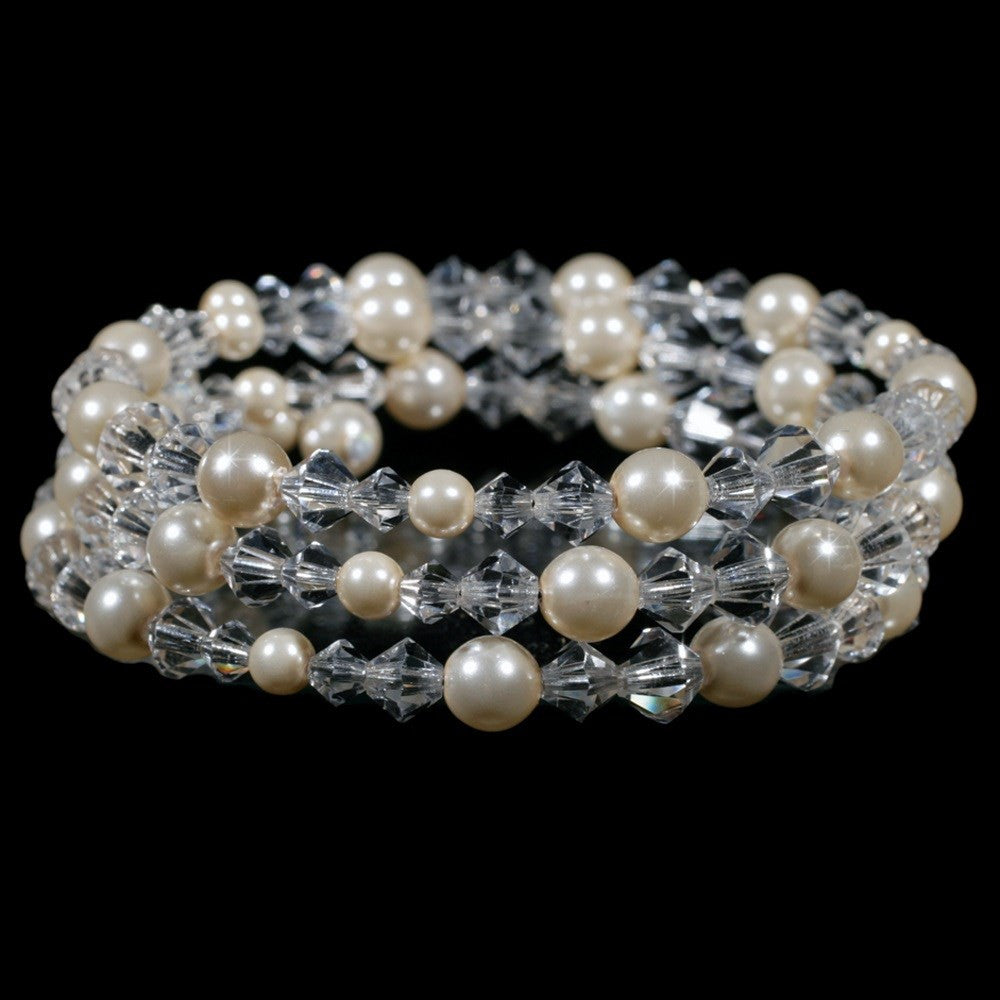 Bridal Wedding Bracelet 8439 Silver Ivory