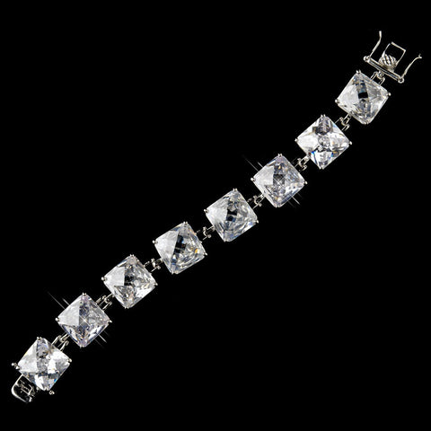 Silver Clear Princess CZ Stone Tennis Bridal Wedding Bracelet 8666
