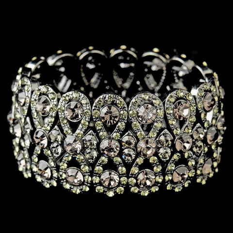 Smoked Bow Tie Stretch Bridal Wedding Bracelet with Rhinestones Black Jet B 8699