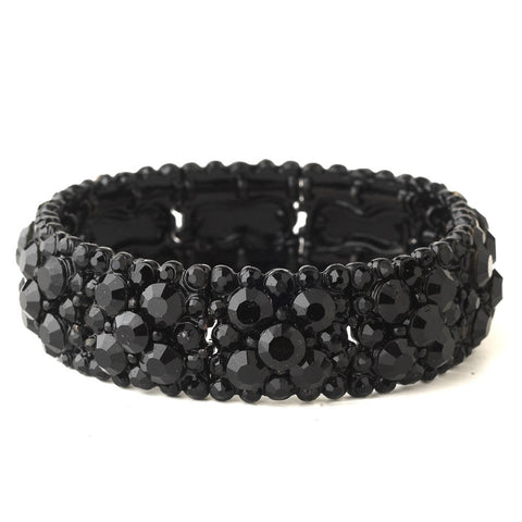 Jet Black Cluster Stretch Bridal Wedding Bracelet 8703