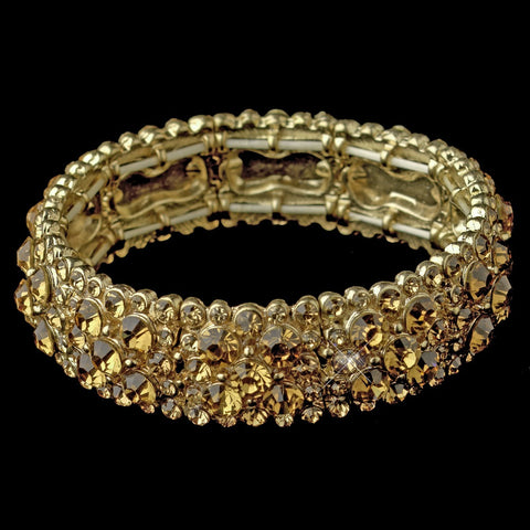 Sparkling Gold Topaz Crystal Stretch Bridal Wedding Bracelet 8703