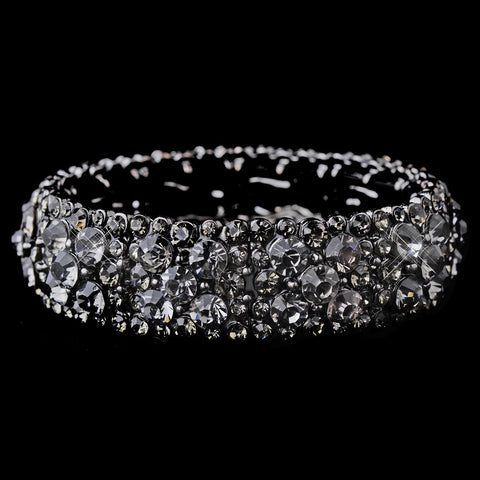Sparkling Hematite Stretch Bridal Wedding Bracelet w/ Charcoal Grey Crystals 8703