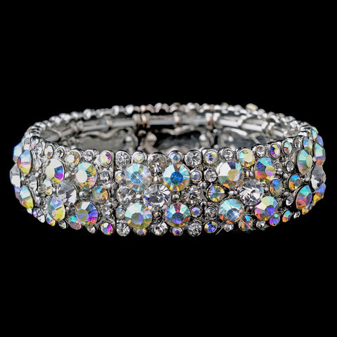 Sparkling Antique Silver Stretch Bridal Wedding Bracelet w/ Clear & Aurora Borealis Crystals 8703