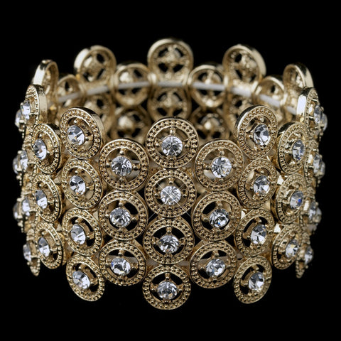 Gold Clear Rhinestone Stretch Bridal Wedding Bracelet 8704