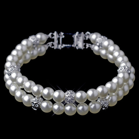 Silver Diamond White Pearl & Pave Ball Bridal Wedding Bracelet 8760