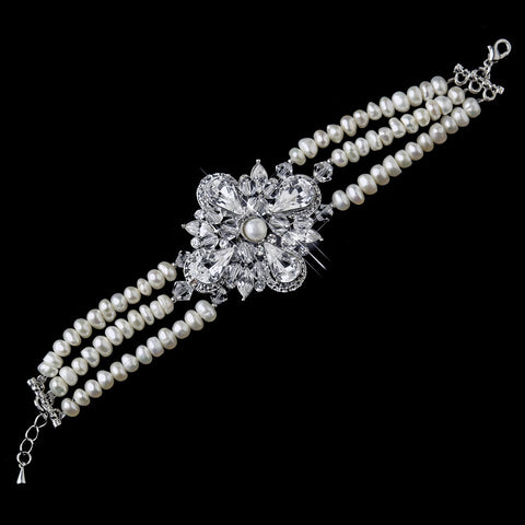 Antique Silver Ivory Freshwater Pearl & Swarovski Crystal Bridal Wedding Bracelet 8780