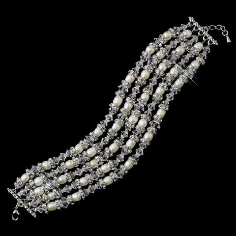 Antique Silver Diamond White Freshwater Pearl & Swarovski Crystal Bead Bridal Wedding Clasp Bridal Wedding Bracelet 8782
