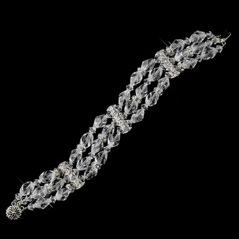 Silver Clear 3 Row Swarovski Crystal Bead Bridal Wedding Clasp Bridal Wedding Bracelet 8783