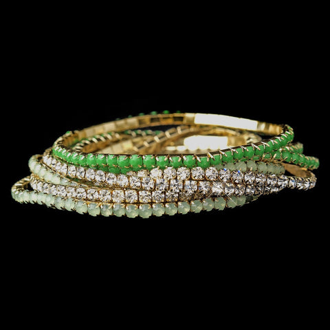 Golden Studded Bohemian Wrap Bridal Wedding Bracelet with Green Rhinestone Adornment 8810