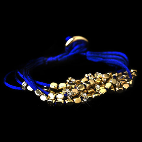 Gold Blue Multi-Strand Fashion Bridal Wedding Bracelet 8812