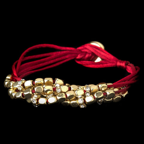 Gold Red Multi-Strand Bridal Wedding Bracelet 8812