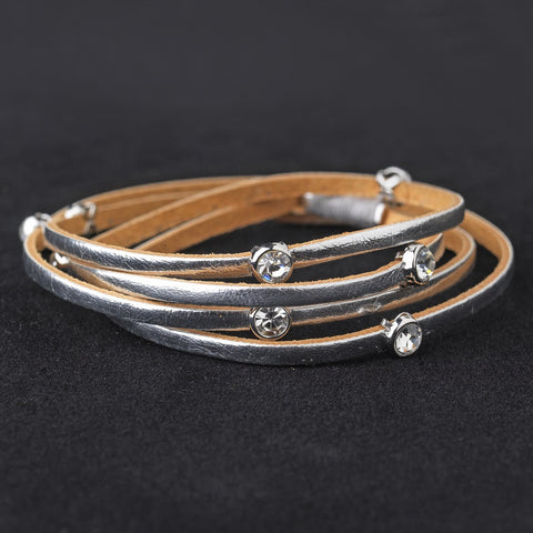 Leather Wrap 3 Strands with Stone Silver Bridal Wedding Bracelet 8814