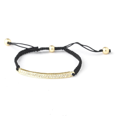 B 8819 Gold Black String Bridal Wedding Bracelet