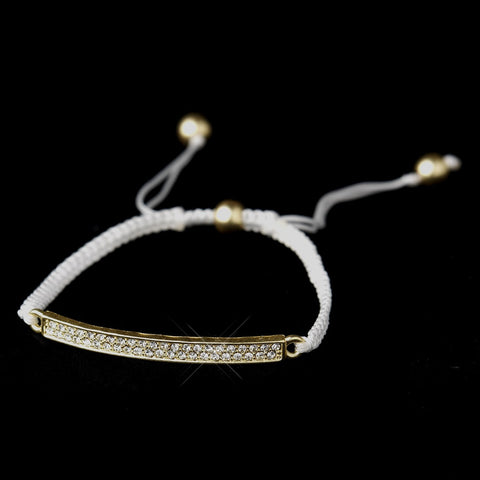 B 8819 Gold White String Bridal Wedding Bracelet