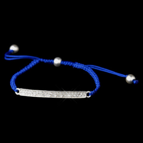 B 8819 Silver Blue String Bridal Wedding Bracelet