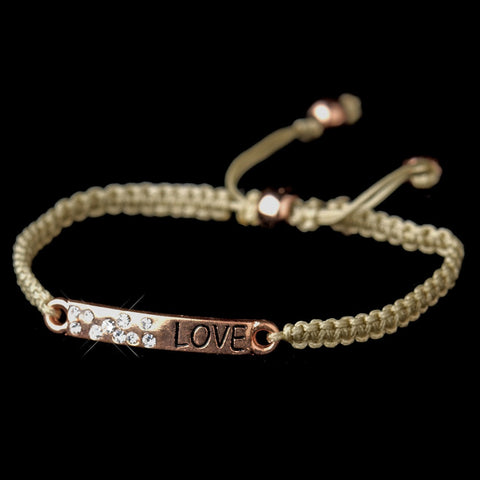 "Rose Gold ""Love"" Corded Rope Fashion Bridal Wedding Bracelet 8823"