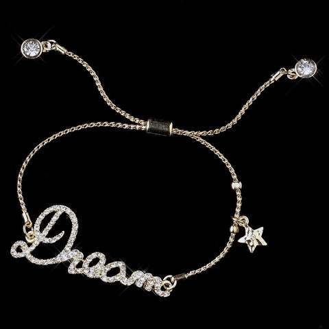 "Gold Clear Fashion Script ""Dream"" Bridal Wedding Bracelet 8825"