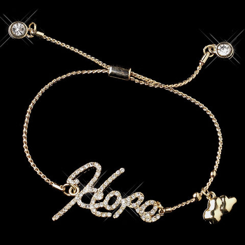 "Gold Clear Script ""Hope"" Bridal Wedding Bracelet 8826"