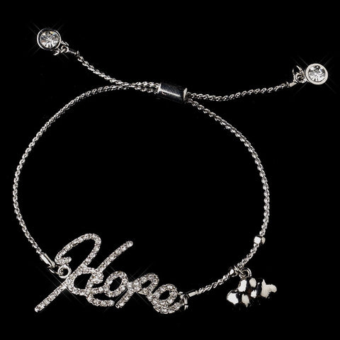 "Silver Clear Script ""Hope"" Bridal Wedding Bracelet 8826"