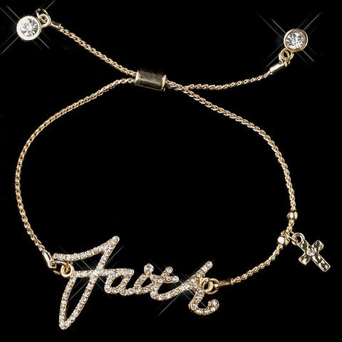 "Gold Clear Script ""Faith"" Bridal Wedding Bracelet 8827"