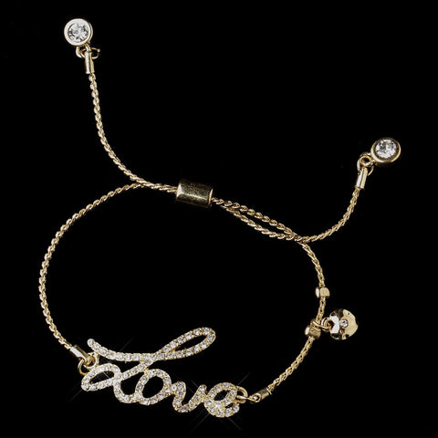 "Gold Clear Script ""Love"" Bridal Wedding Bracelet 8828"
