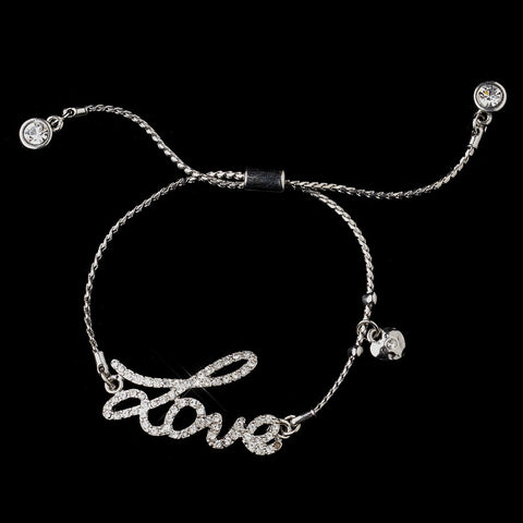 "Silver Clear Script ""Love"" Bridal Wedding Bracelet 8828"