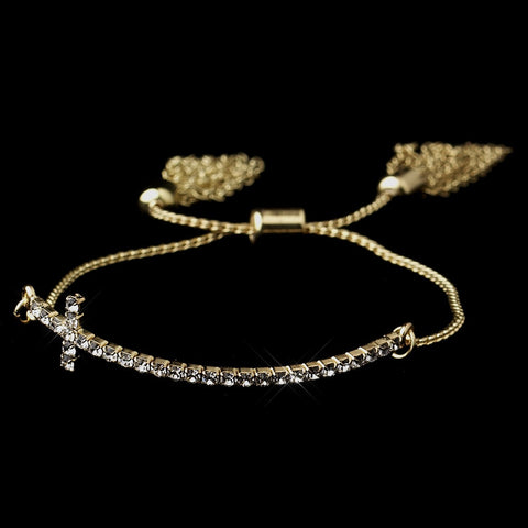 Gold Clear Tassel Cross Bridal Wedding Bracelet 8829