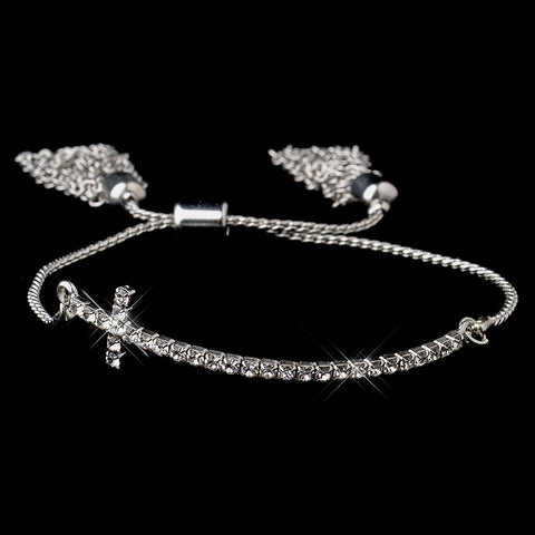 Silver Clear Tassel Cross Bridal Wedding Bracelet 8829