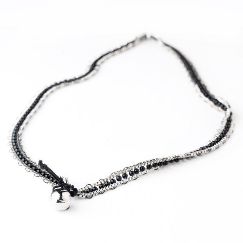 Silver Black Wrap Fashion Bridal Wedding Bracelet 8831