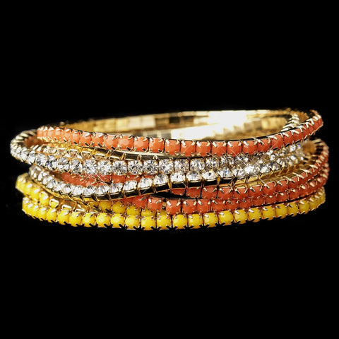 Gold Yellow & Clear Rhinestone Coral 9 Row Fashion Bridal Wedding Bracelet 8832