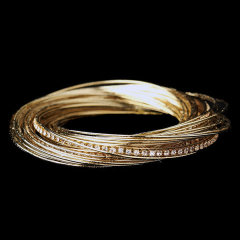 Gold and Clear Crystal Bangle Bridal Wedding Bracelet 8852
