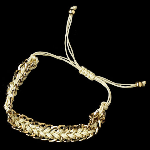 Gold Ivory Braided Mesh Link Fashion Bridal Wedding Bracelet 8860