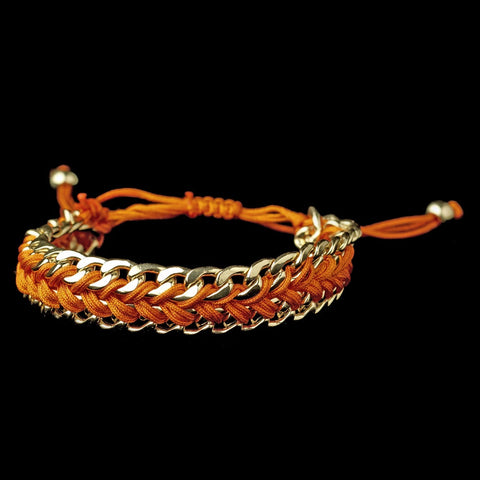 Gold Orange Fashion Braided Bridal Wedding Bracelet 8860